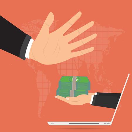 사업가 온라인 인터넷 노트북에서 회사 파산에 대 한 제공 뇌물을 거부합니다. 벡터 일러스트 레이 션 비즈니스 개념 디자인입니다.