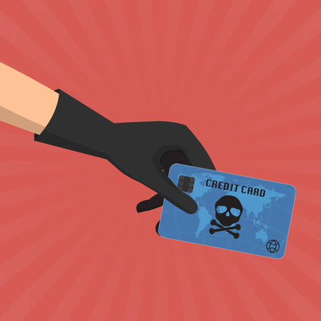 skimmer: Hacker theft hand holding a credit card fraud  with skull and crossbones on sun ray background. Vector illustration business data privacy concept.