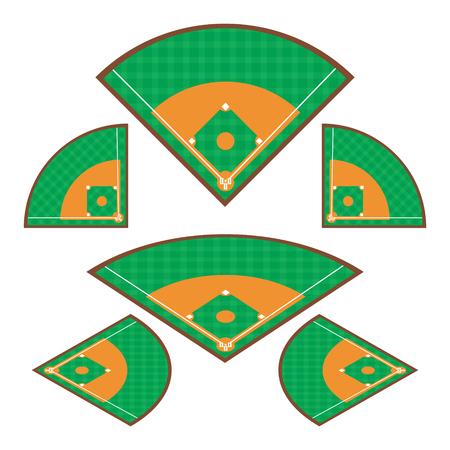 棒球场的设置与任何角度矢量插图