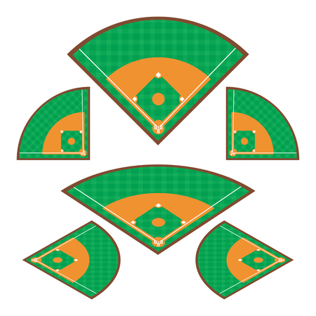 Set of Baseball Fields with any angle Vector illustration