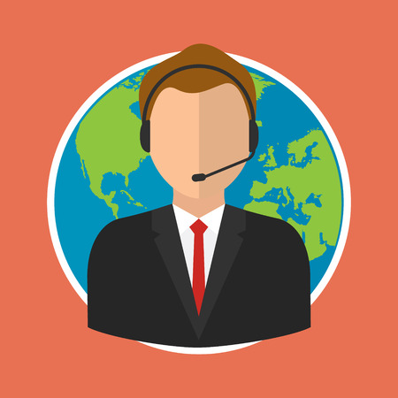 Online customer support center operator service on world globe background. Vector illustration flat style online business concept. Illustration