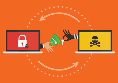 Businessman hand holding money banknote for paying the key from hacker for unlock computer folder got ransomware malware virus computer PC. Vector illustration cybercrime concept. Illustration