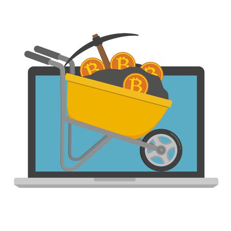 Carriola gialla piena di terreno e pickaxe e bitcoin sul monitor del computer portatile del computer portatile. Illustrazione vettoriale Bitcoin concetto minerario.