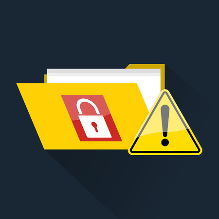 ransom: Design logo sticker with folder locked ransomware malware wannacry virus encrypted files and exclamation warning caution sign. Vector illustration cybercrime and cyber security concept.