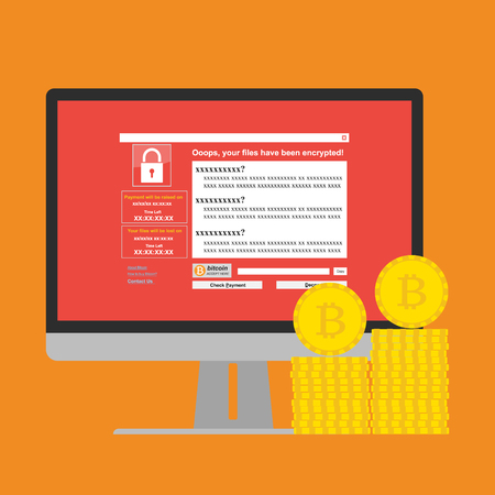 Malware Ransomware wannacry virus encrypted files and show massage for bitcon payment on computer PC display and bitcoins coins. Vector illustration cybercrime and cyber security concept. Illustration