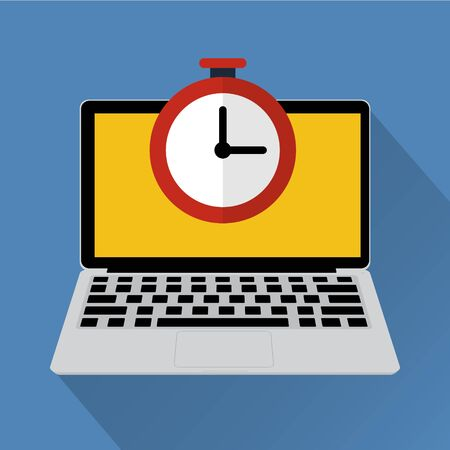 flexible business: Clock on laptop computer with long shadow. Vector illustration online work hours concept. Illustration