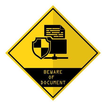 Exclamation warning caution beware share folder Restricted File sign. Vector illustration cybercrime and cyber security concept. Illustration