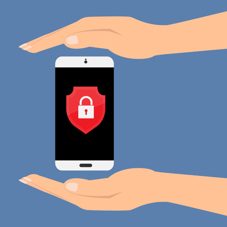 Hands with protect smartphone mobile with shield key lock on screen. Vector illustration customer service care support concept.