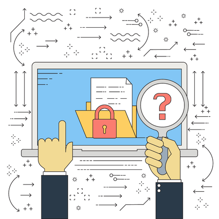 Vector flat line businessman hand with magnifying glass unknown folder data with red key lock malware ransomware virus attack. Vector illustration cybercrime and cyber security concept. Illustration