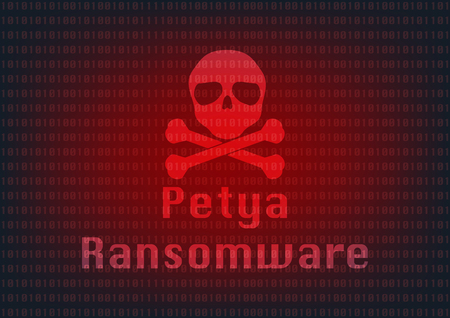 Abstract Malware Ransomware petya virus encrypted files with skull on binary bit background. Vector illustration cybercrime and cyber security concept. Illustration