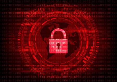 Malware Ransomware virus encrypted files and show key lock with world map on binary code and gear background. Vector illustration cybercrime and cyber security concept.