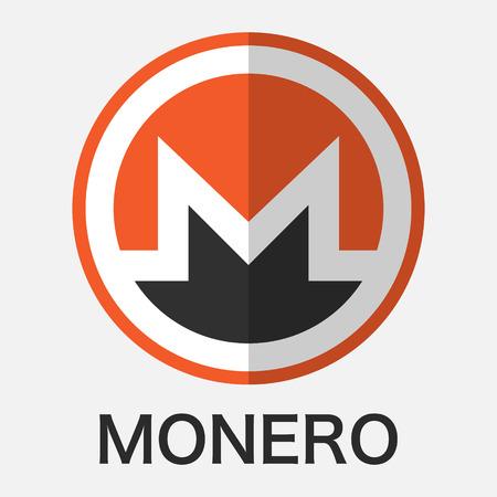 Monero XMR cryptocurrency blockchain technology. Vector illustration logo concept.