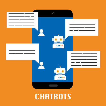 Chatbot mobile on orange background.Vector illustration Chatbots AI artificial intelligence technology concept. Иллюстрация