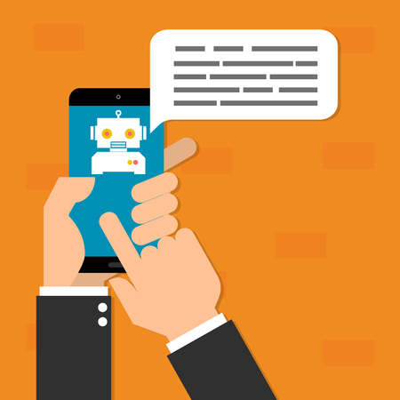 Human hand hold mobile phone with chatbot mobile on orange background.Vector illustration Chatbots AI artificial intelligence technology concept.