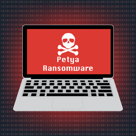 Malware Ransomware Petya virus encrypted files and show skull on laptop computer screen. Vector illustration cybercrime and cyber security concept.