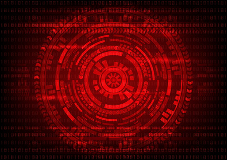 Abstract technology Malware Ransomware virus encrypted files on binary code and gear background. Vector illustration cybercrime and cyber security concept.