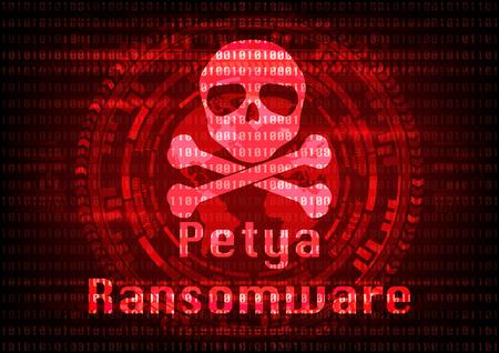 抽象的なマルウェア ランサムウェア ペチャ ウイルス暗号化されたファイルは、バイナリの頭蓋骨を背景を少し。ベクトル図のサイバー犯罪やサイ