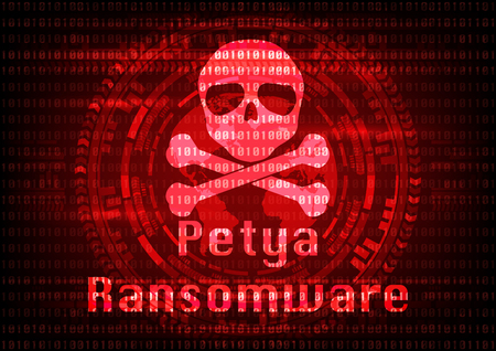 Abstract Malware Ransomware petya virus encrypted files with skull on binary bit background. Vector illustration cybercrime and cyber security concept. Ilustração