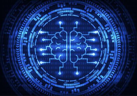 Cerveau intelligence artificielle avec des engrenages sur fond de code binaire. Abstrait de la technologie illustration vectorielle.
