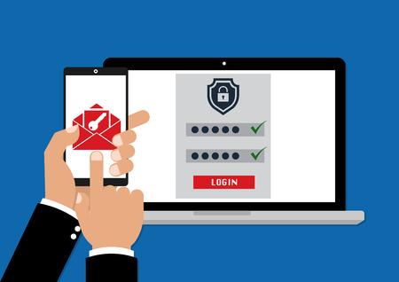 Autenticación de dos factores con clave de seguridad de correo electrónico de teléfono y contraseña de inicio de sesión. Ilustración vectorial concepto de autenticación factor muti.