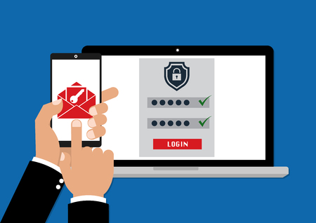 Zwei Faktor-Authentifizierung mit Telefon-E-Mail-Sicherheitsschlüssel und Passwort-Login. Vektor-Illustration Muti-Faktor-Authentifizierung Konzept.