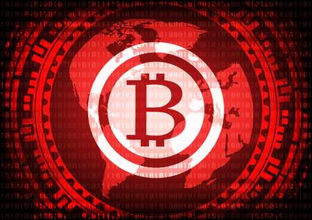Abstract technology bitcoins logo on binary code and gear world map background . Vector illustration cybercrime and cyber security concept.