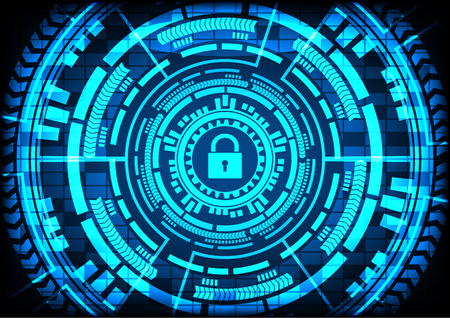 Abstract Malware Ransomware virus encrypted files with keypad gears blue background. Vector illustration cybercrime and cyber security concept.