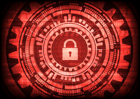 Abstract Malware Ransomware virus encrypted files with keypad globe binary bit background. Vector illustration cybercrime and cyber security concept.
