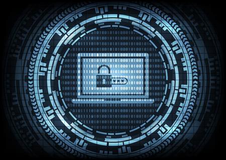 El virus Malware Ransomware encripta archivos y muestra el candado con código en la computadora portátil en código binario y fondo de engranaje. Ilustración de vector cibercrimen y el concepto de seguridad cibernética.
