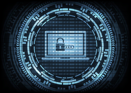 Malware Ransomware virus encrypted files and show key padlock with code on laptop computer on binary code and gear background. Vector illustration cybercrime and cyber security concept.