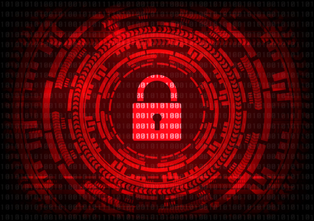 Abstract Malware Ransomware virus encrypted files with keypad on binary bit red background. Vector illustration cybercrime and cyber security concept.