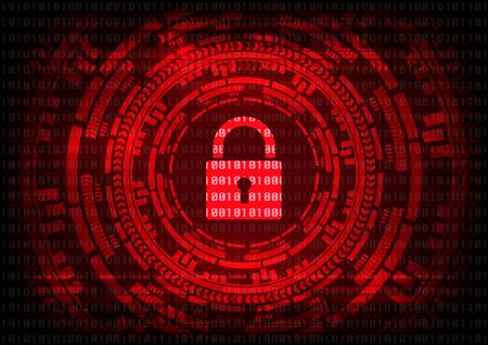 Resumen virus Malware Ransomware cifrado de archivos con el teclado en el fondo rojo bit binario. Ilustración de vector cibercrimen y el concepto de seguridad cibernética.
