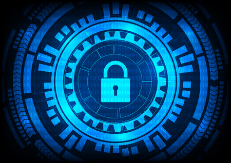 Abstract Malware Ransomware virus encrypted files with keypad gears on binary bit blue background. Vector illustration cybercrime and cyber security concept. Illustration