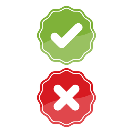Check mark and X mark Right and Wrong on white background. Vector illustration business icon concept. Illustration