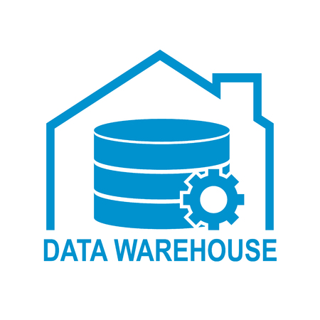 Data warehouse icon logo design. Vector illustration technology solution tend concept design.