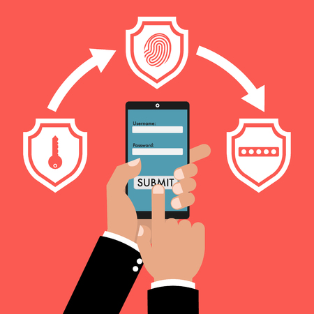 Businessman hand holding smart phone tablet with multi factor authentication concept with three shields on red background. Vector illustration business cybersecurity concept design.