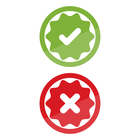 Check mark and X mark Right and Wrong on white background. Vector illustration business icon concept. Çizim