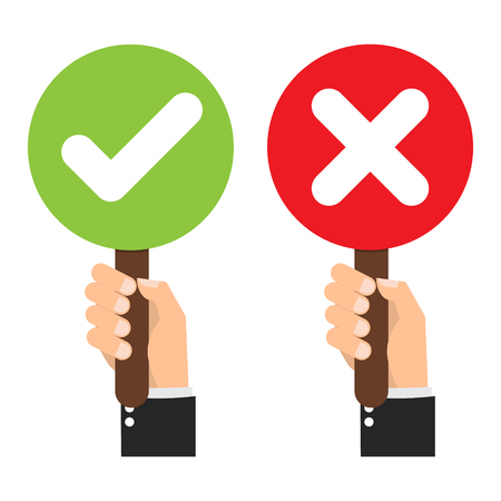 Businessman hand hold signboard Green check mark and red X mark Right and Wrong for feedback. Cartoon flat vector illustration business concept.