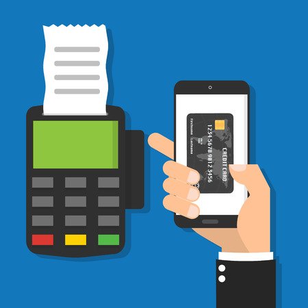 Businessman hand holding smartphone mobile with virtual credit card on the screen for processing of mobile payments and POS terminal credit card reader machine with bill. Vectores