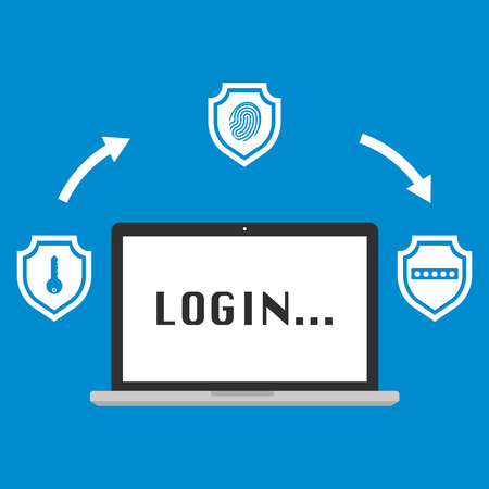 Computer laptop login display with multi factor authentication concept with three shields on blue background. Vector illustration business cybersecurity concept design.