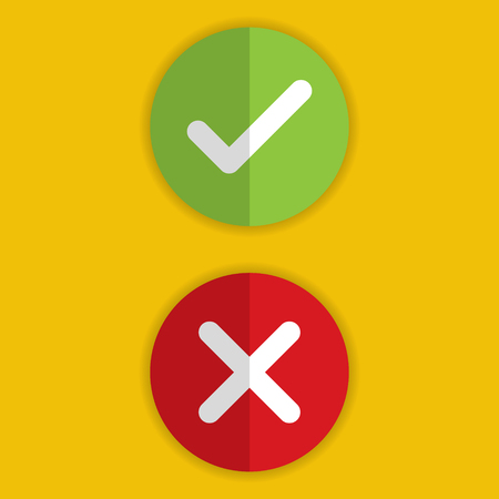 Check mark and X mark Right and Wrong with shadow on yellow background. Vector illustration business icon concept.