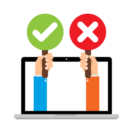 Businessman hand hold signboard Green check mark and red X mark Right and Wrong for feedback from laptop computer. Cartoon flat vector illustration business concept. Illustration
