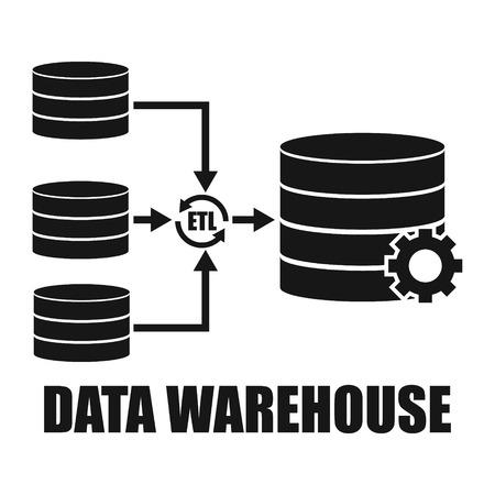 Data Warehouse architecture environment design vector illustration Illustration