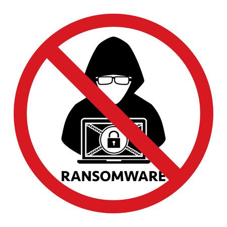 Pare o ícone proibido do sinal do ransomware do hacker no fundo branco. Vector a privacidade dos dados da tecnologia do cibercrime da ilustração e o conceito da segurança. Ilustración de vector