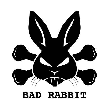 Black bad rabbit ransomware logo design on white background. Vector illustration cyber crime and security logo concept. Stock Illustratie