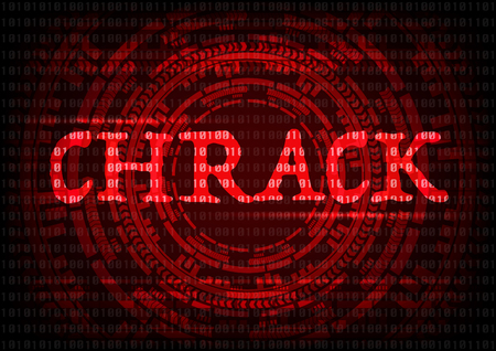 Abstract background KRACK word with gear technology wifi hack on WPA2 key security. Vector illustration KRACK in wifi cyber security infographic concept. Foto de archivo - 92171004