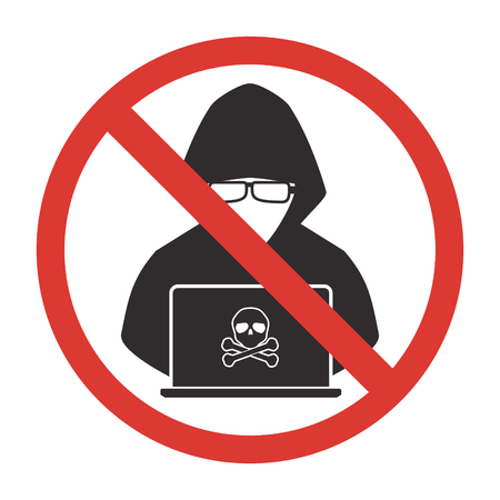 Stop hacker forbidden signal icon on white background. Vector illustration cybercrime technology data privacy and security concept. Illustration