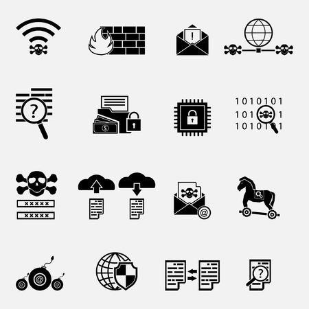 Cybercrime internet network security black and white icon. Vector illustration cyber crime online security concept. Vectores