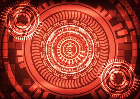 Abstract technology red background with gear. Illustration