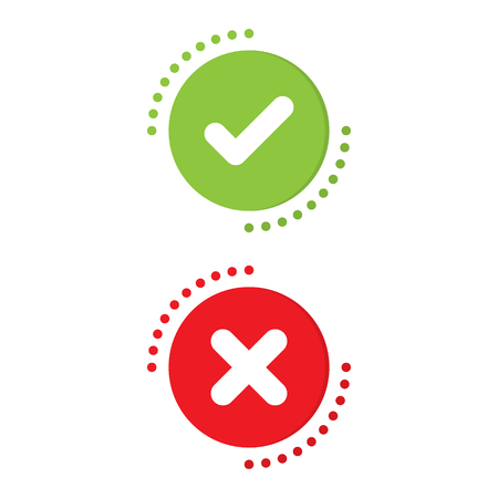 Green check mark and red X mark icon concept. Illustration